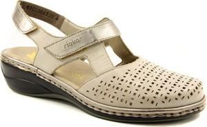 Sandały Rieker w stylu casual na niskim obcasie na rzepy