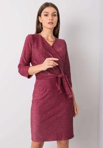 Czerwona sukienka Factory Price w stylu casual z długim rękawem mini