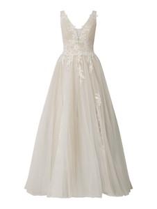 Sukienka Luxuar rozkloszowana z dekoltem w kształcie litery v na ramiączkach