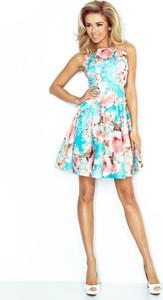 Niebieska sukienka Fokus bez rękawów z okrągłym dekoltem mini