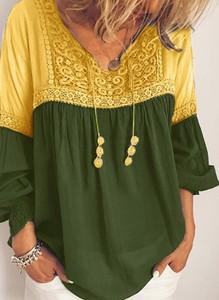 Żółta bluzka Sandbella z dekoltem w kształcie litery v