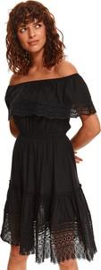 Czarna sukienka Top Secret z krótkim rękawem koszulowa