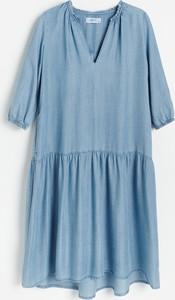 Niebieska sukienka Reserved z długim rękawem mini