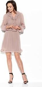 Różowa sukienka Merg z jedwabiu z długim rękawem