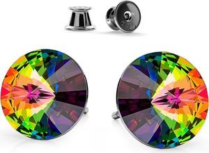 GIORRE SREBRNE KOLCZYKI SWAROVSKI RIVOLI 8MM 925 : Kolor kryształu SWAROVSKI - Crystal VM, Kolor pokrycia srebra - Pokrycie Czarnym Rodem