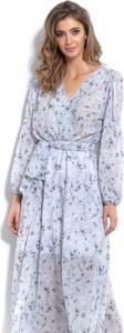 Niebieska sukienka Fobya z długim rękawem z dekoltem w kształcie litery v maxi