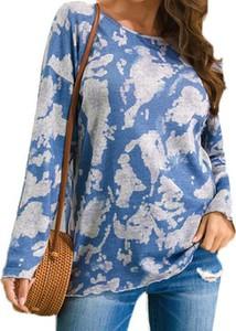 Niebieska bluzka Cikelly z długim rękawem w stylu casual z okrągłym dekoltem