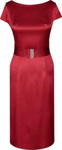 Czerwona sukienka Fokus z krótkim rękawem z szyfonu