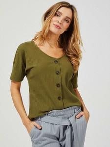 Zielona bluzka Moodo z krótkim rękawem z dekoltem w kształcie litery v