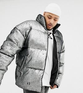 Srebrna kurtka Asos Design w młodzieżowym stylu