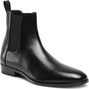 Czarne buty zimowe Hugo Boss ze skóry