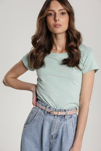 Miętowy t-shirt Renee z krótkim rękawem z okrągłym dekoltem