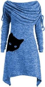 Niebieska sukienka Cikelly mini z długim rękawem z okrągłym dekoltem