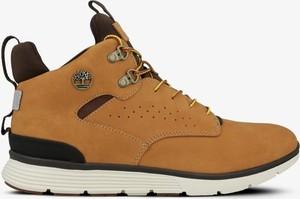 Brązowe buty zimowe Timberland w militarnym stylu