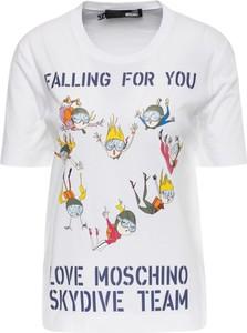 T-shirt Love Moschino z nadrukiem w młodzieżowym stylu