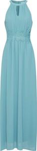 Niebieska sukienka Vila maxi z dekoltem halter bez rękawów