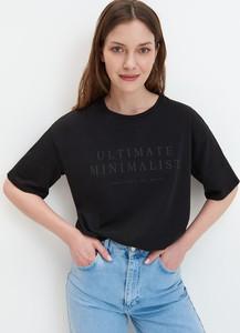 Czarny t-shirt Mohito w stylu casual z krótkim rękawem