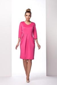 Różowa sukienka Coco Style bombka midi z okrągłym dekoltem