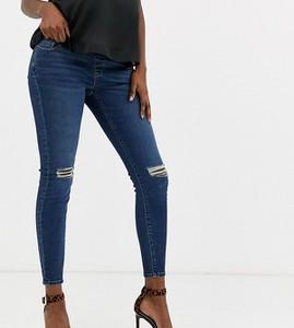 ASOS DESIGN Maternity – Ridley – Ciemnoniebieskie jeansy o obcisłym kroju z wysokim stanem i pasem pod brzuchem