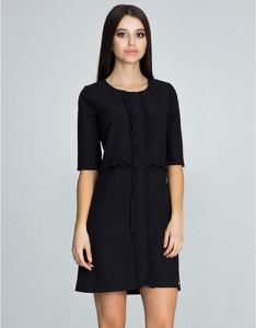 Czarna sukienka Figl z długim rękawem mini