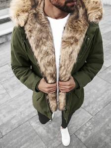 Brązowa kurtka ozonee.pl w stylu casual długa z bawełny