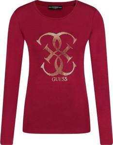 Czerwona bluzka Guess Jeans z okrągłym dekoltem