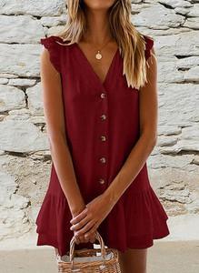 Czerwona sukienka Cikelly w stylu casual na ramiączkach