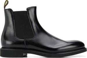 Czarne buty zimowe Doucal's ze skóry