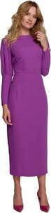 Fioletowa sukienka Makover midi z tkaniny