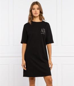 Sukienka Armani Exchange mini z okrągłym dekoltem prosta