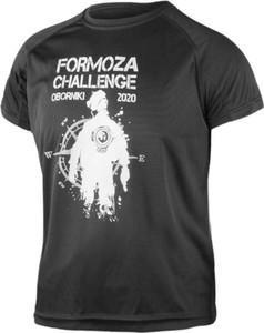 Czarny t-shirt Formoza Challenge z nadrukiem z krótkim rękawem