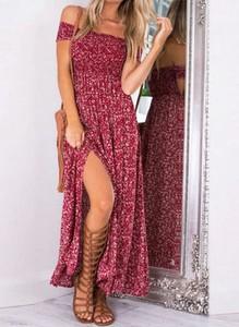 Czerwona sukienka Cikelly maxi hiszpanka