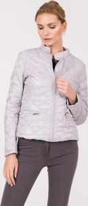 Srebrna kurtka QUIOSQUE w stylu casual krótka