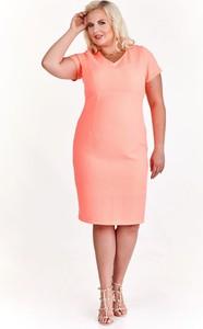 Różowa sukienka Fokus z żakardu midi w stylu klasycznym