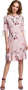 Sukienka MOE midi rozkloszowana z krótkim rękawem