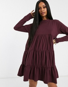 Fioletowa sukienka Missguided oversize z dżerseju z długim rękawem