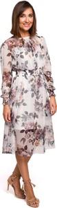 Sukienka MOE z szyfonu z długim rękawem