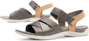 Brązowe sandały Merrell w sportowym stylu ze skóry na rzepy