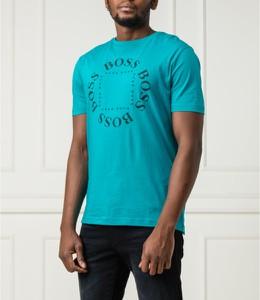 Niebieski t-shirt Hugo Boss z krótkim rękawem z bawełny w młodzieżowym stylu