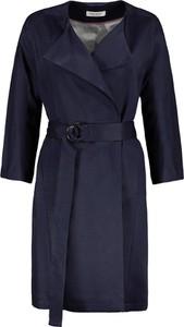 Granatowy płaszcz Lavard w stylu casual