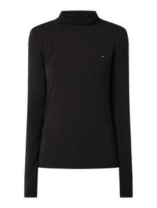 Czarna bluzka Tommy Hilfiger z golfem z długim rękawem w stylu casual