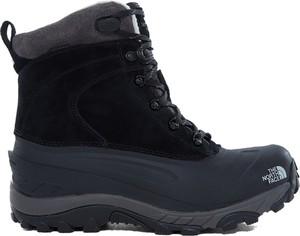Granatowe buty trekkingowe The North Face ze skóry