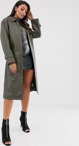 Zielony płaszcz Asos Design ze skóry ekologicznej