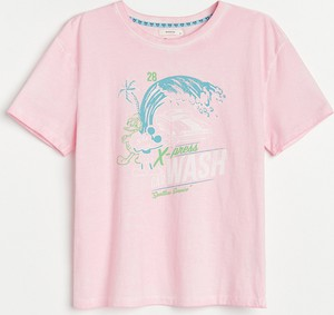 Różowy t-shirt Reserved z krótkim rękawem z bawełny