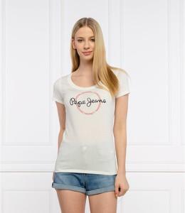 Bluzka Pepe Jeans z okrągłym dekoltem z krótkim rękawem w młodzieżowym stylu