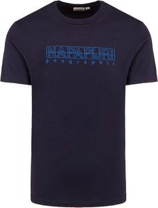 Granatowy t-shirt Napapijri z krótkim rękawem w sportowym stylu z bawełny