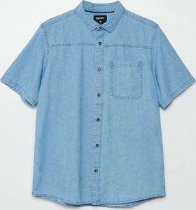 Niebieska koszula Cropp w stylu casual z krótkim rękawem