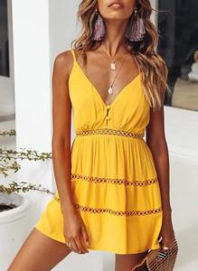 Sukienka Sandbella w stylu boho mini z dekoltem w kształcie litery v