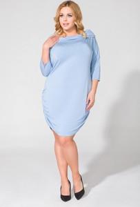 Niebieska sukienka sukienki.pl z dzianiny z długim rękawem