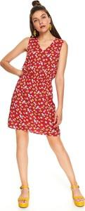 Czerwona sukienka Top Secret mini z dekoltem w kształcie litery v
